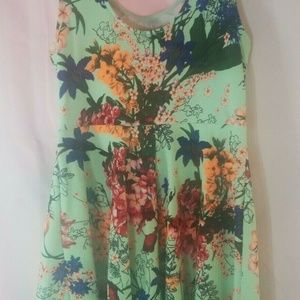 La Scala Size XL Mint Green Floral Dress Sleevless